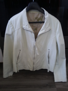 cream colored leather like jacket   ...never worn