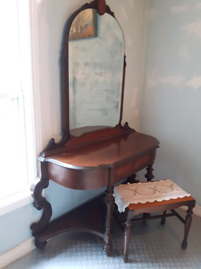 Antique vanity and stool
