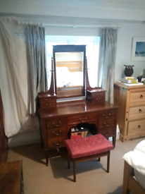 Antique Edwardian solid hardwood dressing table