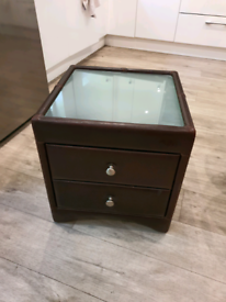 Beautiful real leather bedside or side table w/ frosted glass surface