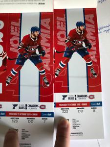 2 billets Canadiens vs St-Louis Section Blanc 323 Rangée DD