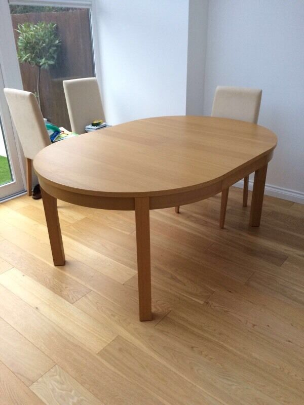 ikea bjursta oak extendable dining table round oval 40 in richmond london gumtree. Black Bedroom Furniture Sets. Home Design Ideas
