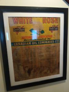 """Antique Framed 1949 White Rose """"Chek-Chart"""""""