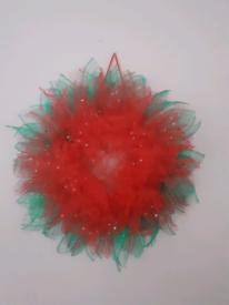 Red flower door wreath