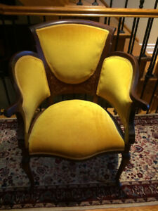 PARLOUR  INLAYED CHAIRS - HIS / HERS - ANTIQUE