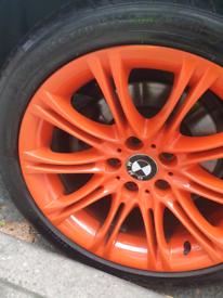 Glitter Gloss Orange alloys rims wheels bmw mv2 5 / 3 series like new