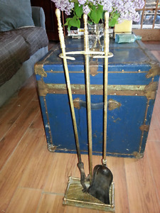 Fireplace Tool Set Brass and Cast Iron