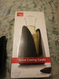 Glass carafe active cooling element