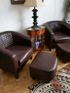 Barrell chair and ottoman