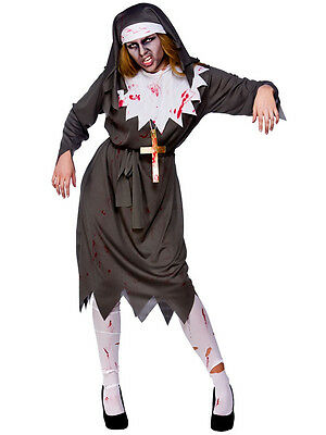 Ladies Evil Satanic Sister Dead Zombie Nun Halloween Fancy Dress Costume 14-24