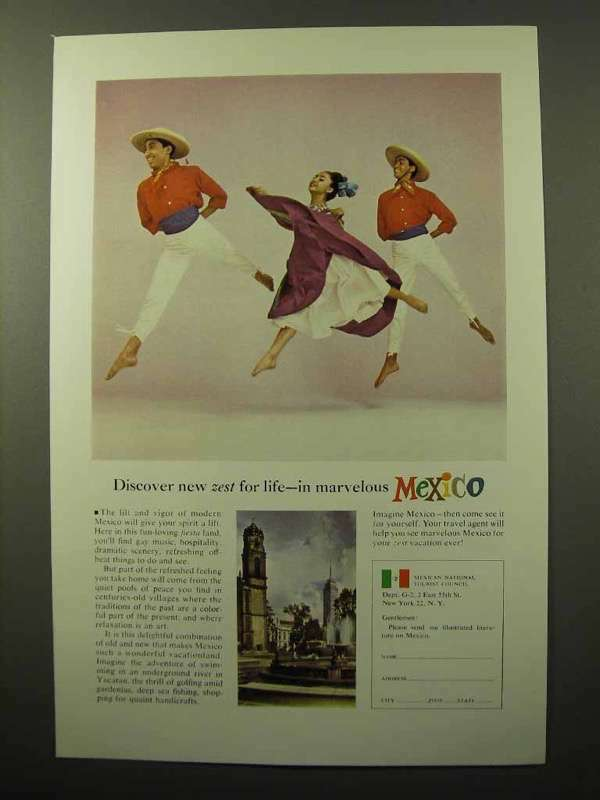 1964 Mexico Tourism Ad - Discover New Zest for Life