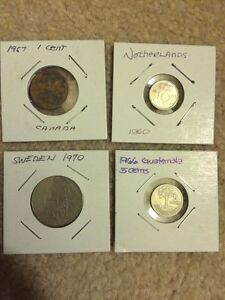 4 pcs world coins