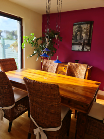 Solid Wood Table, 6 Rattan Chairs, matching Sideboard and Bookcase