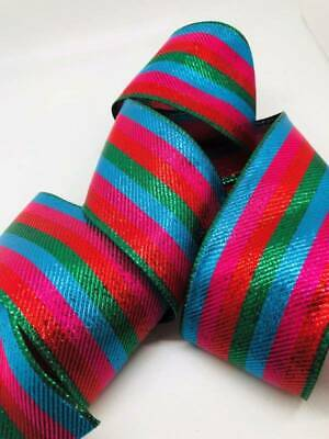 Turquoise Red Green Hot Pink Stripe Wired Ribbon 10 Yards Christmas 2.5