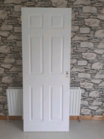 White 6 Panel Door with Hinges