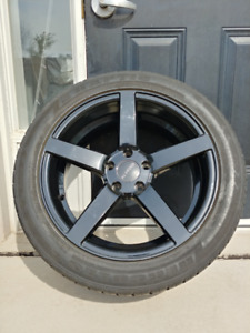 "Set of 4 wheels - Ruffino Boss black 18""x8"" with Hercules tires"