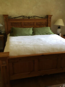 Panel Solid Pine King bed frame with metal. Made by Broyhill