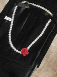 Cultural Pearl Necklace With Red Rose Appraised
