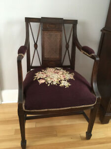 Antique Dining room chairs, hooked-rug seats