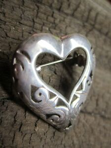 Sterling Silver Heart Brooche