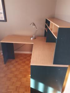bureau de travail en coin bois work corner desk wood