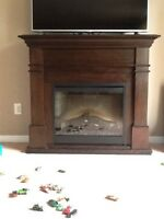 Solid wood expresso electric fireplace