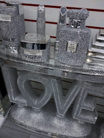 CRUSHED CRYSTAL TABLE LOVE OR HOME AVAILABLE