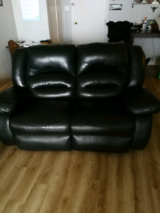 Thick leather love seat