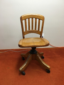 Antique Solid Oak Bankers Chair 1896-1929 Gilson Manufacturing