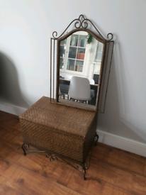 Ratan style ottoman and matching mirror
