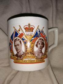 Genuine 1937 Commerative Coronation Gold Rimmed China Mug