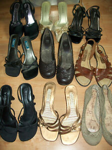 Variety of ladies sandals and shoes