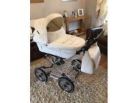 Baby style white leather pram/buggy set