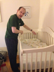 Real wood baby crib convertible into double bed $150