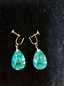 Vintage glass etched earrings