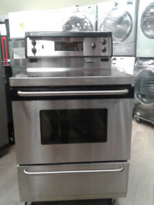 """stove GE convection 30"""" glass top  stainless s"""