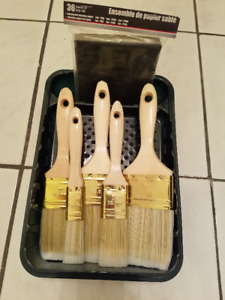 Paint Brush Set With Tray & Sanding Paper