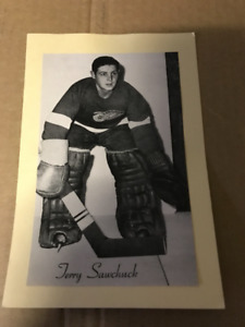 1945-64 TERRY SAWCHUCK BEEHIVE PHOTO NHL GOALIE RED WINGS