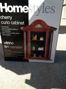 Cherry Curio Cabinet - Wall hung - $70.00