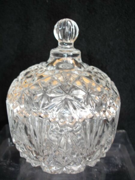 Art Deco Clear Cut Glass Dressing Table Dish/Powder Puff Pot