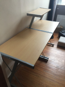 desk - two pieces. One with elevated shelf