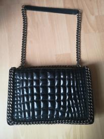 Zara leather croc city chain bag