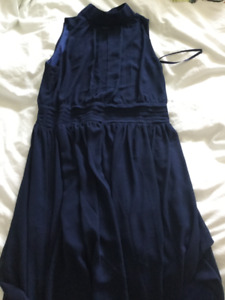 Navy Halter Chiffon Dress. Large