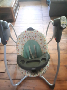 Babies firsr carseat + bsbies swing