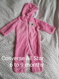 Pink baby Converse All Star pram suit for age 6 to 9 months baby