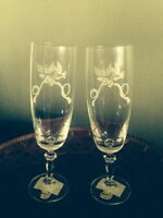 2 Crystal Champagne Flutes (never used)