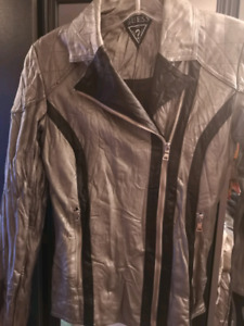 Guess silver grey leather jacket s/m