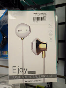 USAMS Ejoy Metal Earphones ( Gold ) - Brand New In Box