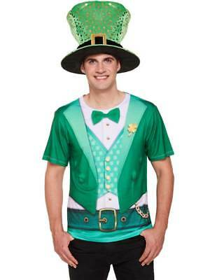 Adults Lucky Irish Tee T-shirt Fancy Dress Leprechaun St Patricks Paddys Day
