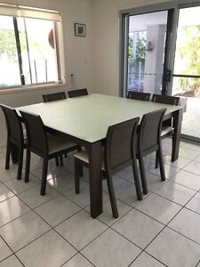 Dining table and chairs suite setting modern square seats 8 Aspley Brisbane North East Preview